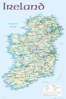 Politisk kort over Irland Plakat