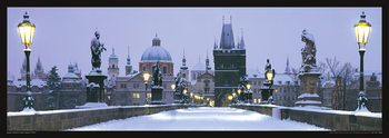 Prague – Charles bridge / snow Plakat