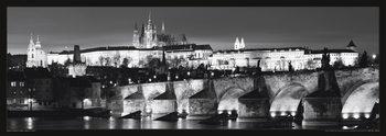 Prague – Prague castle / night b&w Plakat