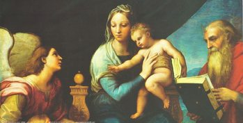 Raphael Sanzio - Madonna of the Fish - Madonna with the Fish, 1514 (part) Kunsttryk