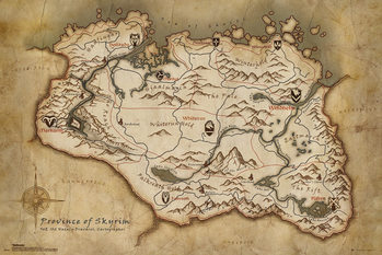 Skyrim - Map Plakat
