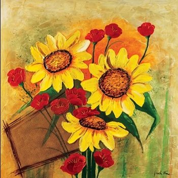 Sunflowers and Poppies Kunsttryk