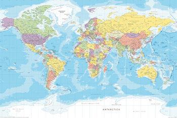 Plakat Världskarta - Politisk
