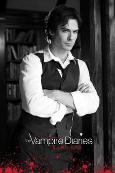 Vampire Diaries - Damon (Zwart Wit) Plakater