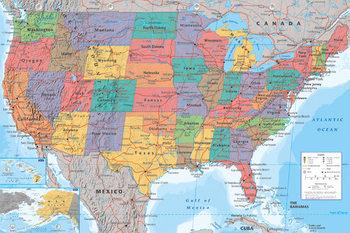 Wandkaart Verenigde Staten, politiek Plakater