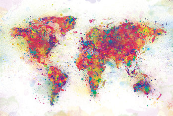 World Map - Color Splash Plakat
