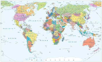 World Map - Political Plakat