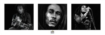 Bob Marley - 3 images (B&W) Poster