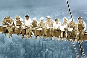 Men on girder - New York/pop Poster