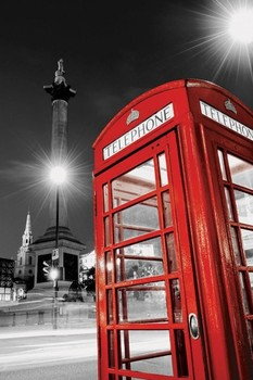 Red telephone box - trafalgar Poster