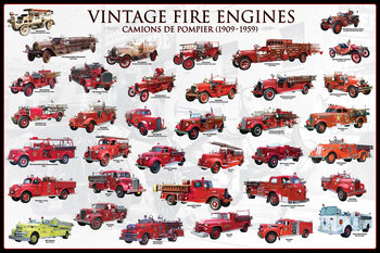 Vintage fire engines Poster