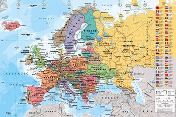 Zemljevid sveta Evropa Poster