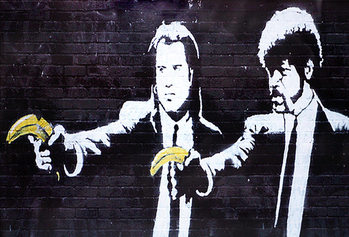 Banksy Street Art - Jules & Vincent Banana Plakát
