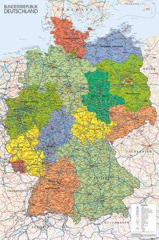 Plakát Németország politikai térképe