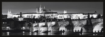 Prague – Prague castle / night b&w Plakát