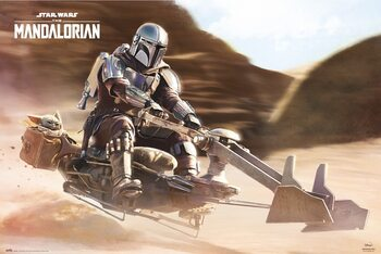 Plakát Star Wars: The Mandalorian - Speeder Bike