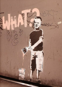 Plakat Banksy street art - what? graffiti