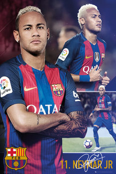 Plakát Barcelona - Neymar collage 2017