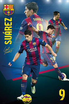 Plakát Barcelona - Suarez Collage 14/15