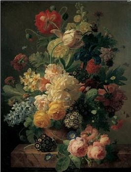 Reprodukcja Flowers in a vase on a marble console table, 1816