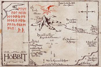 Plakat Hobbit - mapa Samotnej Góry