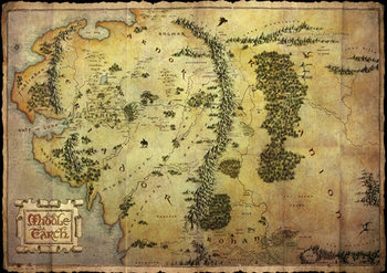 Plakat Hobbit - mapa Śródziemia (mettalic)