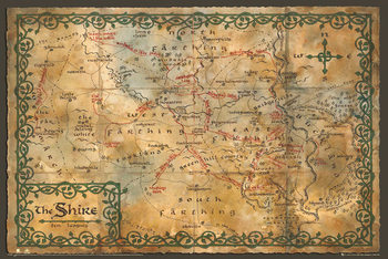 Plakát Hobit - mapa Kraje