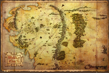 Plakát Hobit - mapa Středozemě