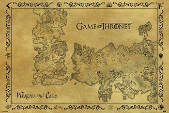 Plakát Hra o Trůny (Game of Thrones) - mapa starý styl