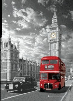Londyn - big ben & bus Plakat 3D Oprawiony