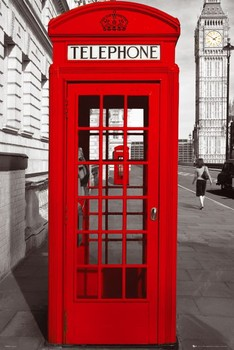 Londýn - telephone box plakát, obraz