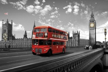 Plakát Londýn - westminster bridge bus