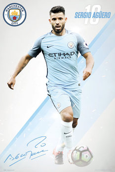 Plakát Manchester City - Aguero 16/17