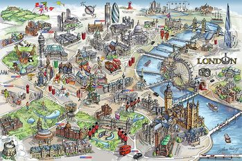 Plakát  Mapa londýnského centra