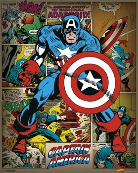 Plakát  MARVEL COMICS – captain america retro