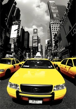 New York - yellow cabs Plakat 3D Oprawiony