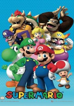 Nintendo - cast Plakat 3D Oprawiony