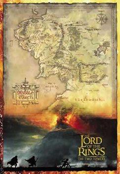 Plakát Pán Prstenů - mapa Středozemě