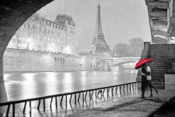 Paříž - Eiffel tower kiss  plakát, obraz