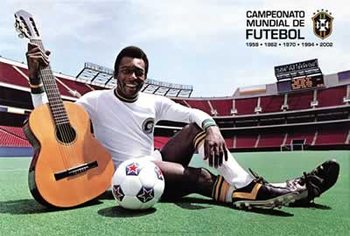 Plakát Pelé - with guitar and football