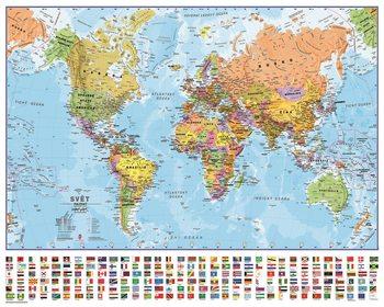 Plakát  Politická mapa světa s vlajkami - Česky
