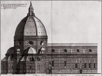 Reprodukcja Side View of Santa Maria del Fiore, Florence Cathedral