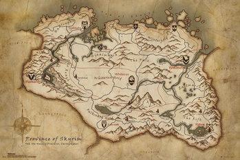 Plakát Skyrim - Map