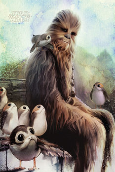 Plakat Star Wars: The Last Jedi - Chewbacca & Porgs