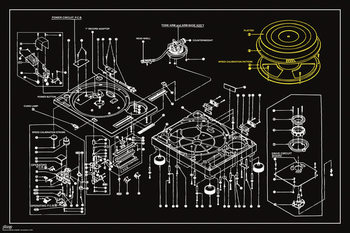 Plakát Steez - Decks Technical Drawing