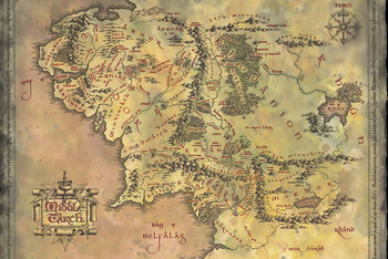 Plakát The Lord of the Rings - Middle Earth Map