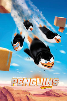 Plakát Tučňáci z Madagaskaru - Flying