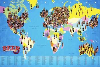 Plakat World map - Beer