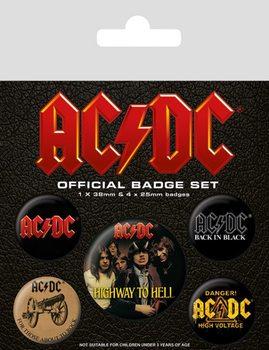 Plakietki zestaw AC/DC - Logo