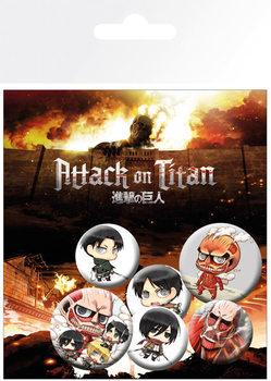 Plakietki zestaw Attack on Titan (Shingeki no kyojin)
